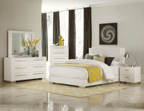 Coaster Tully Modern Upholstered Low Profile Bed In White Dealbeds Com