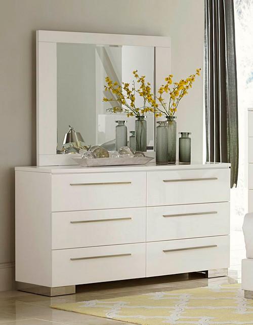 Homelegance Linnea White High Gloss Dresser