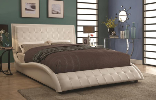 Coaster Tully Modern Upholstered Low Profile Bed In White