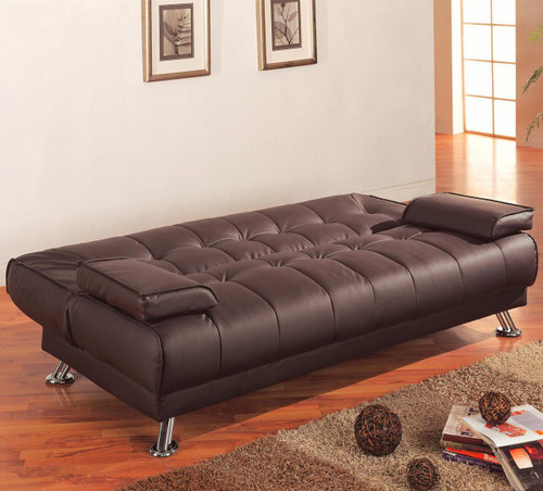 Coaster Braxton Convertible Sofa Bed in Brown Faux Leather
