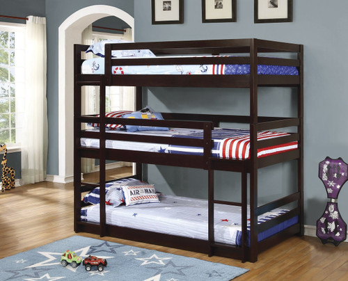 Coaster Mythos Triple Layer Bunk Bed In Cappuccino