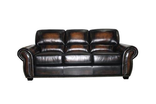 J. Graham Parker Genuine Top Grain Leather Charleston Sofa in Decatur Sienna
