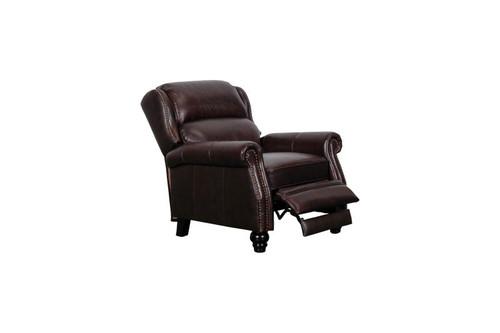 J. Graham Parker Genuine Top Grain Leather Chesterfield Reclining Glider Chair in Decatur Sienna