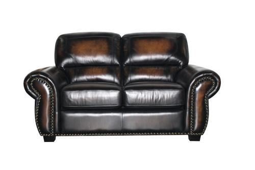 J. Graham Parker Genuine Top Grain Leather Charleston Loveseat in Decatur Sienna