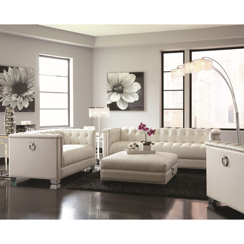 Coaster Milan Button Tufted Sofa In Pearl White