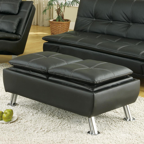 Coaster Jareth Contemporary Ottoman In Black Dealbeds Com