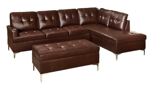 Homelegance Barrington Tufted Accent Bi Cast Sectional Sofa in Brown