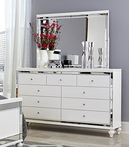 Homelegance Alonza Collection Mirror In White Dealbeds Com