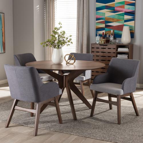Baxton Studio Monte Mid Century Modern Walnut Wood Round 5 Piece Dining Set