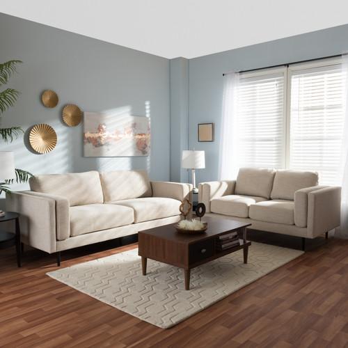 Baxton Studio Brittany Retro Mid Century Modern Light Beige Fabric  Upholstered 2 Piece Living
