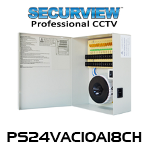 SecurView 24VAC 10A 18-Ch Heavy Duty Transformer / CCTV Power Supply
