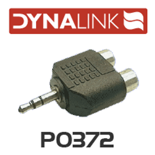 Dynalink 2 RCA Female to 3.5mm Stereo Plug Adapter