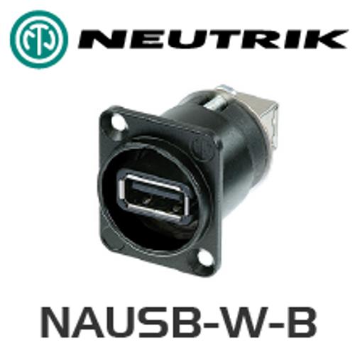 Neutrik USB 2.0 Type A / Type B Chassis Black NAUSB-B
