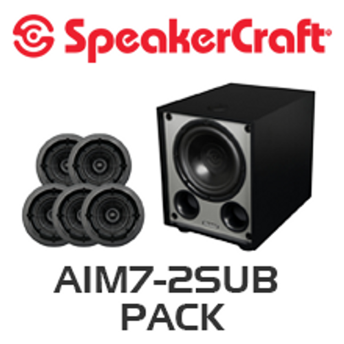 """SpeakerCraft AIM7 Two 7"""" In-Ceiling 5 Speaker Package with V8 Subwoofer"""