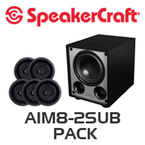 """SpeakerCraft AIM8 Two 8"""" In-Ceiling 5 Speaker Package with V10 Subwoofer"""