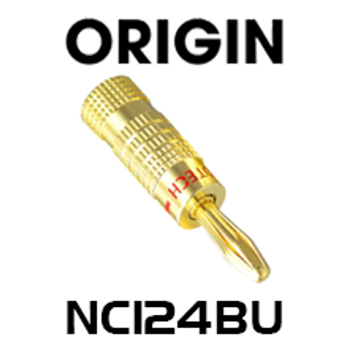 Origin NC124BU Premier 24K Gold Plated Banana Plug - Blue