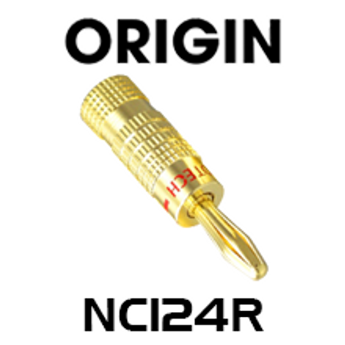 Origin NC124R Premier 24K Gold Plated Banana Plug - Red