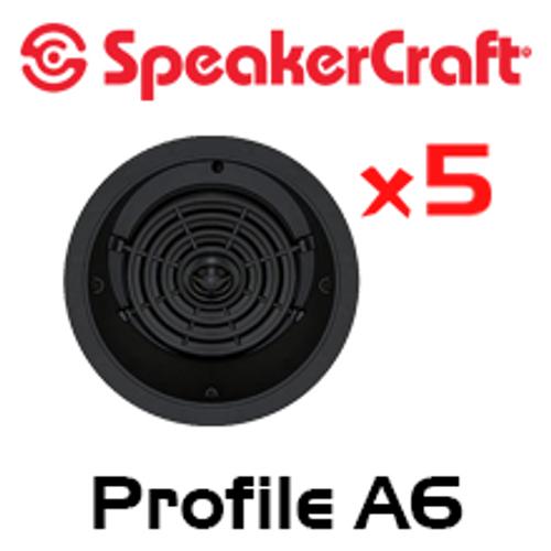 "SpeakerCraft Profile A6 6.5"" LCR In-Ceiling 5 Speaker Package"