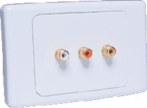 Dynalink Composite & Stereo RCA Wallplate - Solder Termination