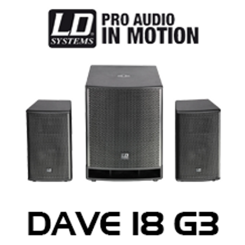 """LD Systems DAVE18G3 18"""" 4800W 2.1 Compact Active PA System w/ DSP"""