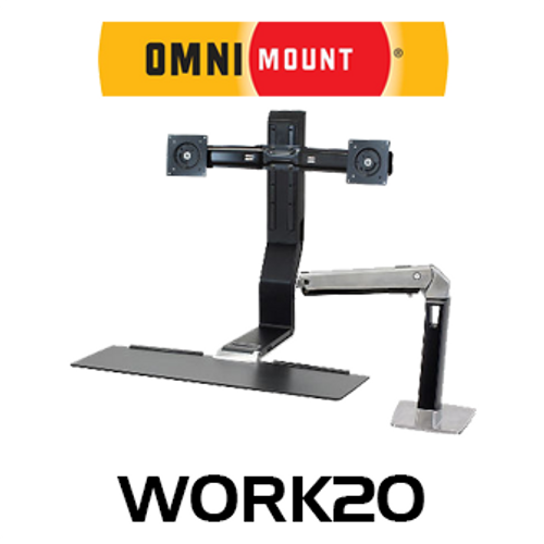 """OmniMount Work20 Dual Monitor Sit/Stand Desk Mount (Up to 22"""")"""