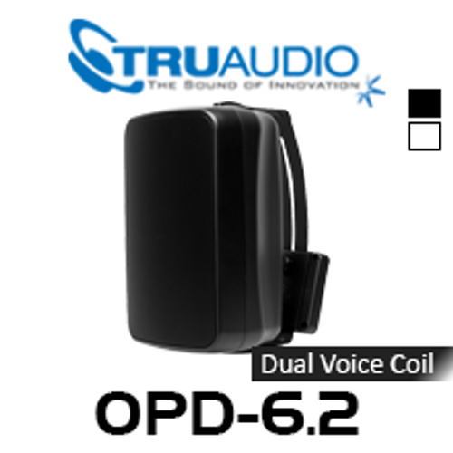 """TruAudio OPD-6.2 6.5"""" Injected Poly Dual Voice Weather Proof Outdoor Speaker With Bracket (Each)"""