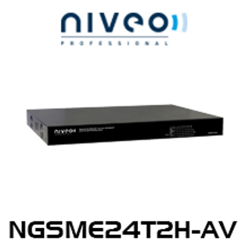 Niveo NGSME24T2H-AV 24-Rear Port L2 Sharing PoE Gigabit Switch + 2 SFP Slots