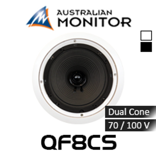 "Australian Monitor QF8CSB 8"" 70/100V QuickFit Dual Cone In-Ceiling Speaker (Each)"