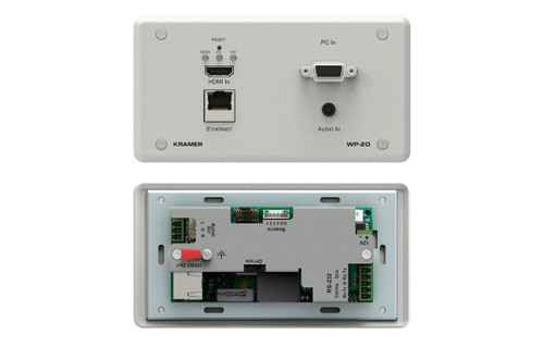 Kramer WP-20 4K60Hz HDMI/VGA to HDBaseT PoE Wallplate Transmitter w/ Ethernet, Audio & RS-232 (up to 130m)