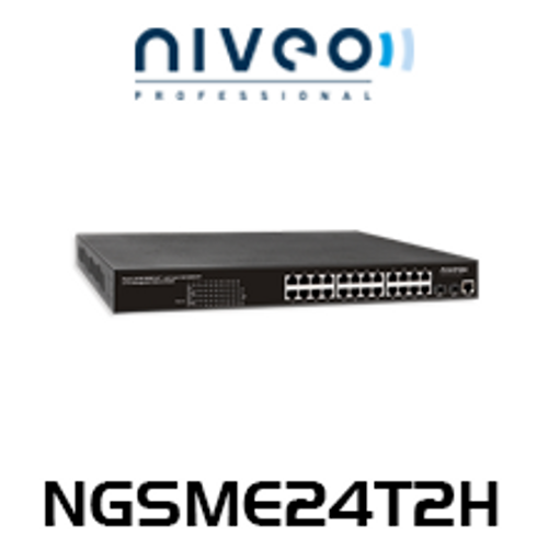Niveo NGSME24T2H 24-Port L2 PoE Gigabit Switch + 2 SFP Slots