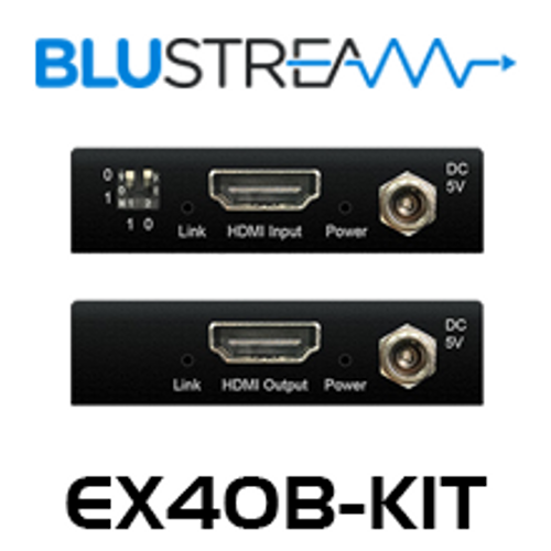 BluStream EX40B-KIT Slim Line HDMI Extender Set With Bi-Directional IR (up to 40m)