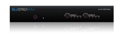 BluStream MX42AB 4x2 4K HDMI Matrix with Audio Breakout & EDID Management