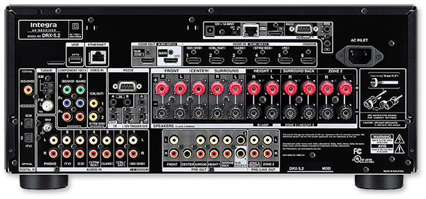 Integra DRX-5.2 9.2-Ch THX, HDBT, DTS:X & Dolby Atmos Network AV Receiver rear