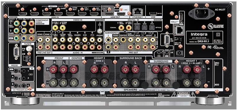 Integra DRX-R1.1 11.2-Ch THX, DTS-X & Dolby Atmos Network AV Receiver - rear view
