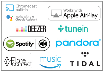 Stream It Easy with Amazon Music, Spotify, Pandora, Deezer and TuneIn built-in.
