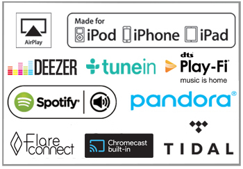 Spotify, Tidal, Pandora, Deezer and TuneIn built-in