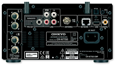 Onkyo CR-N775D Micro Network CD Receiver With DAB+ & Chromecast - rear view