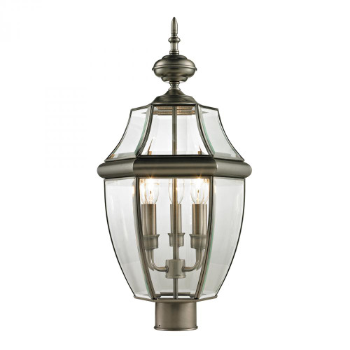 Elk Cornerstone Ashford 3 Light Exterior Post Lantern In Antique 13X23 8603Ep/80
