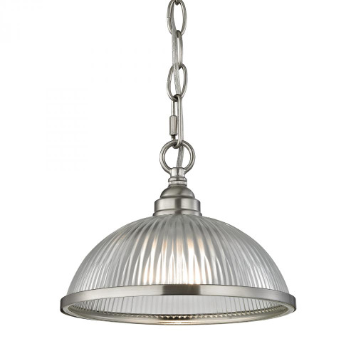 Elk Cornerstone Liberty Park Dome Shade Nickel Pendant Light-7661PS/20