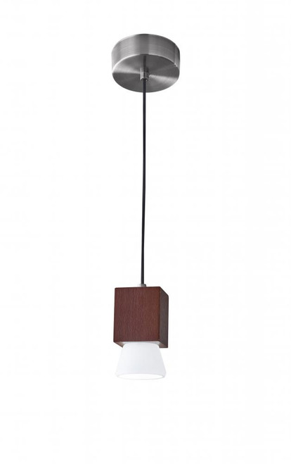 Adesso Burlington LED Cone Shade Walnut Wood w. Brushed Steel hardware Pendant Light-3096-15