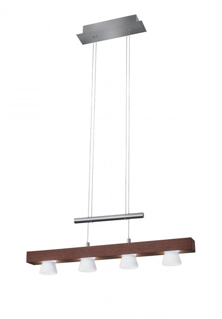 Adesso Burlington 4 Light Walnut Wood w. Brushed Steel hardware LED Linear Suspension Chandelier-3097-15