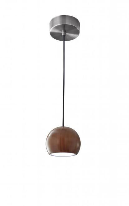 Adesso Cypress LED Ball Shade Walnut Wood w. Brushed Steel hardware Pendant Light-3426-15