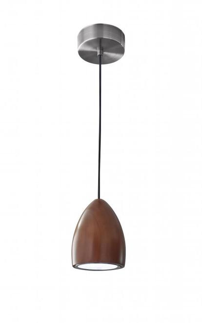 Adesso Cypress LED Cone Shade Walnut Wood w. Brushed Steel hardware Pendant Light-3427-15