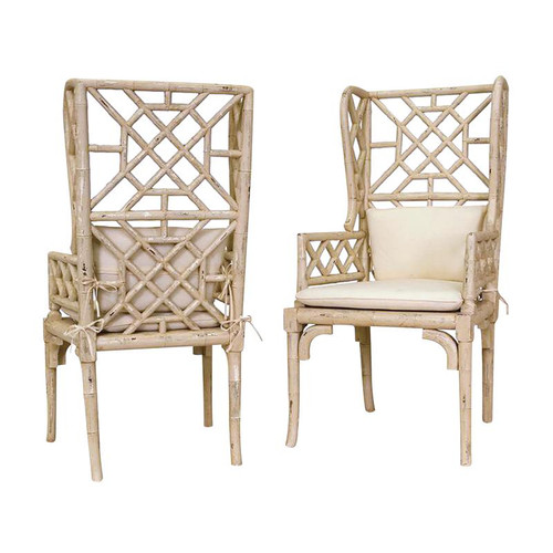 Guild Masters Cream Bamboo Wing Back Chair 657530Pcr