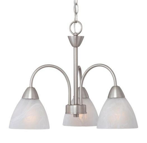Thomas 3 Light Chandelier In Matte Nickel Finish With Etched Swirl Glass 190005117