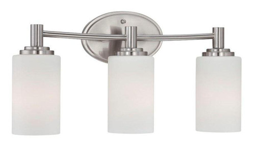 Thomas Pittman 9.75in 3 Light Bath Fixture In Brushed Nickel Finish With Etched Glass 190024217