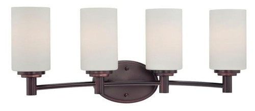 Wall Lights By Thomas Four-light bath fixture in Sienna Bronze finish with etched glass. 190025719