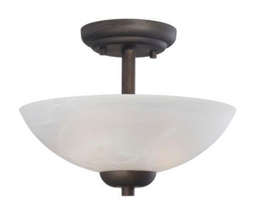 Thomas Tia 2 Light Painted Bronze Semi-Flushmount Ceiling Light-190067763