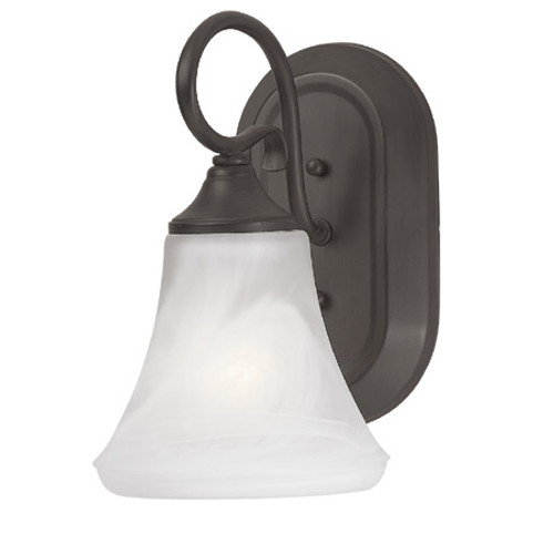 Thomas 1 Light Bath Or Wall Sconce In Painted Bronze Finish With Swirl Alabaster Style Glass Sl744163