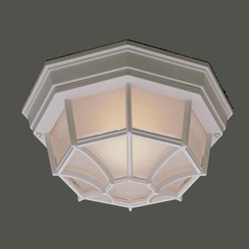 Thomas 1 Light Die-Cast Aluminum Outdoor Ceiling Fixture In White Finish With Frosted Glass Sl7458